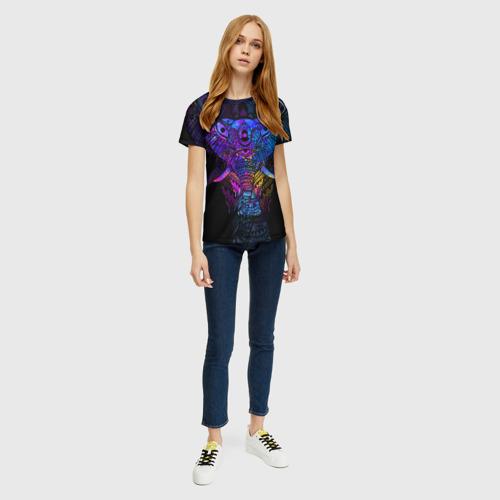 Женская 3D футболка с принтом Слон, вид сбоку #3