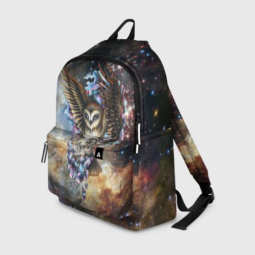 Рюкзак 3D с принтом Сова космическая, вид спереди #2