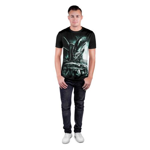 Мужская футболка 3D спортивная с принтом Чужой, вид сбоку #3