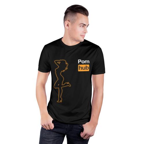 Мужская футболка 3D спортивная с принтом Pornhub (neon girl), фото на моделе #1