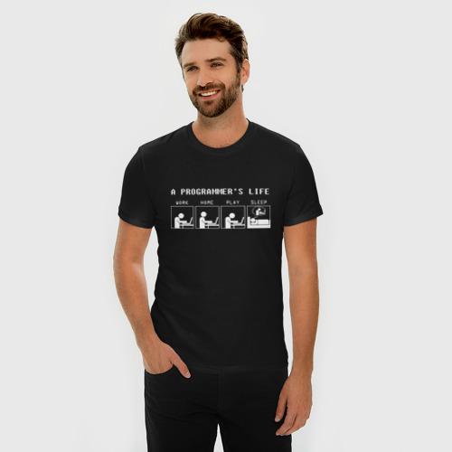 Мужская футболка премиум с принтом Жизнь программиста, фото на моделе #1