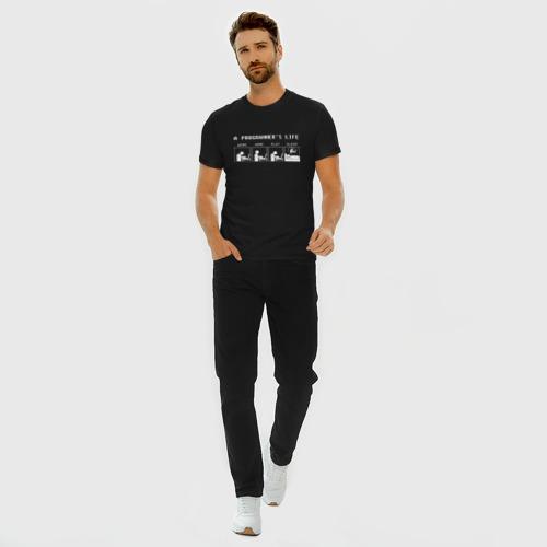 Мужская футболка премиум с принтом Жизнь программиста, вид сбоку #3