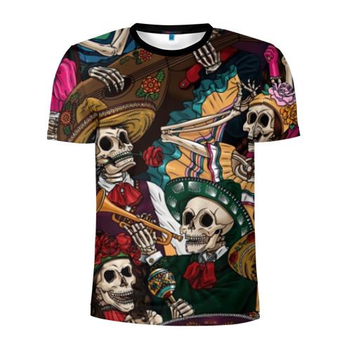 Мужская футболка 3D спортивная с принтом Мексиканская Вечеринка, вид спереди #2