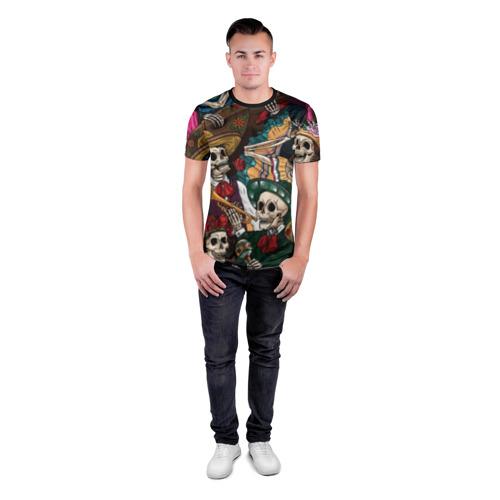 Мужская футболка 3D спортивная с принтом Мексиканская Вечеринка, вид сбоку #3