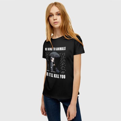 Женская 3D футболка с принтом Be Kind to Animals, фото на моделе #1