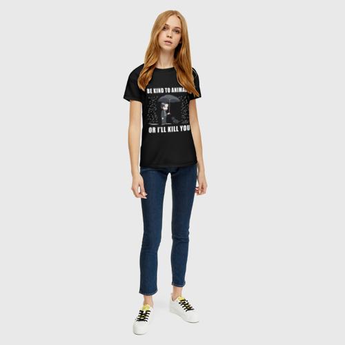 Женская 3D футболка с принтом Be Kind to Animals, вид сбоку #3
