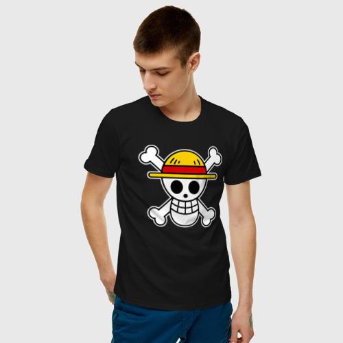 Мужская футболка с принтом One Piece скелет, фото на моделе #1