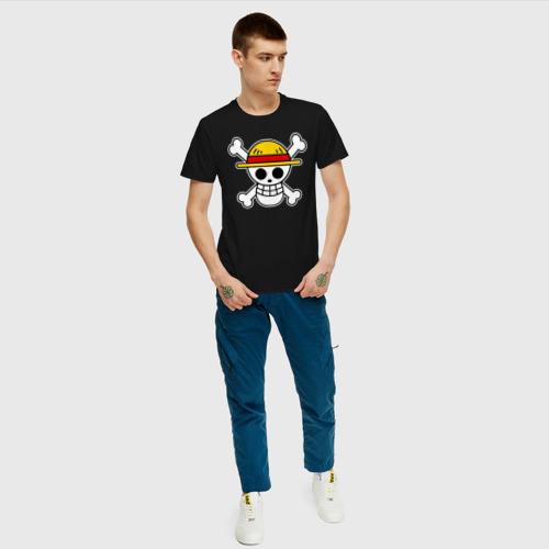 Мужская футболка с принтом One Piece скелет, вид сбоку #3