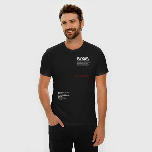 Мужская футболка премиум с принтом NASA / НАСА, фото на моделе #1