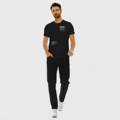 Мужская футболка премиум с принтом NASA / НАСА, вид сбоку #3