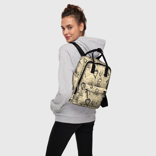 Женский рюкзак 3D с принтом Великие писатели-классики, вид сбоку #3