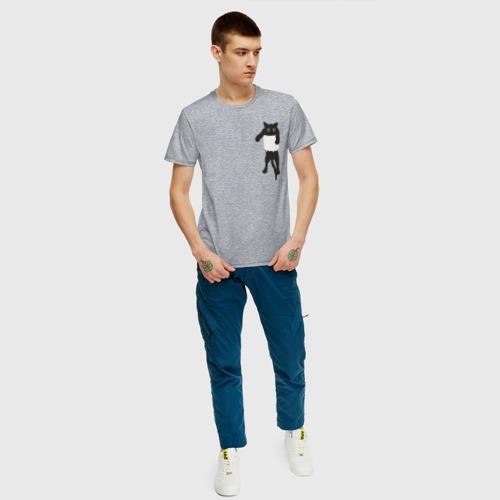 Мужская футболка с принтом Кися в кармане, вид сбоку #3