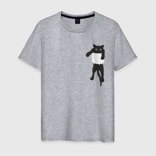 Мужская футболка с принтом Кися в кармане, вид спереди #2