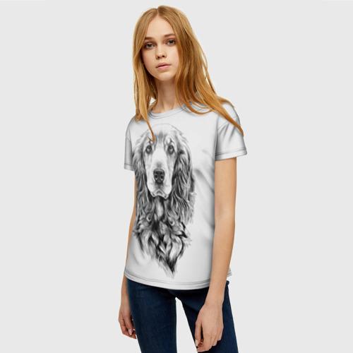 Женская 3D футболка с принтом Кокер спаниель, фото на моделе #1