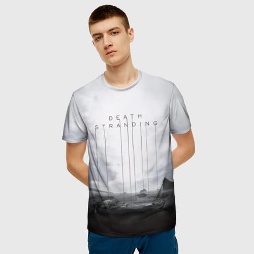 Мужская 3D футболка с принтом DEATH STRANDING, фото на моделе #1