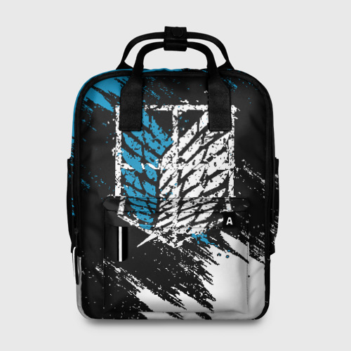 Женский рюкзак 3D АТАКА ТИТАНОВ Бело-голубые мазки