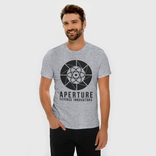 Мужская футболка премиум с принтом APERTURE lab, фото на моделе #1