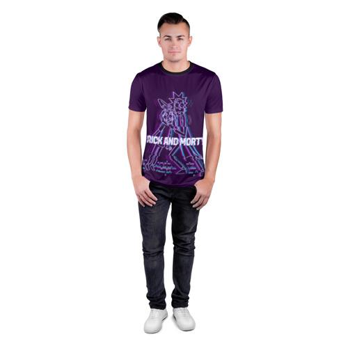 Мужская футболка 3D спортивная с принтом Glitch Rick and Morty, вид сбоку #3