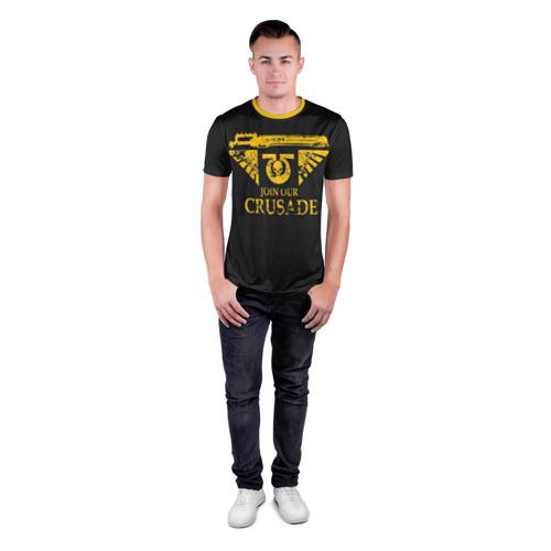 Мужская футболка 3D спортивная с принтом JOIN OUR CRUSADE | КРЕСТОВЫЙ ПОХОД, вид сбоку #3