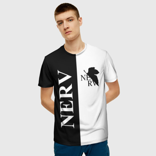 Мужская 3D футболка с принтом Nerv black, фото на моделе #1