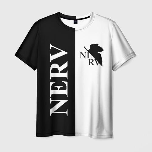 Мужская 3D футболка с принтом Nerv black, вид спереди #2