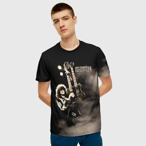 Мужская 3D футболка с принтом Led Zeppelin, фото на моделе #1