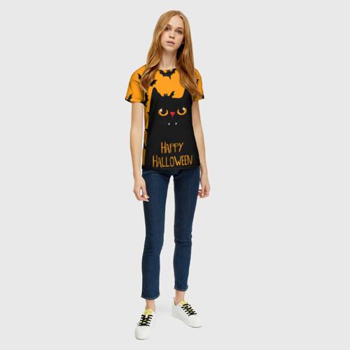 Женская 3D футболка с принтом Happy halloween, вид сбоку #3