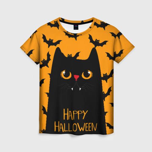 Женская 3D футболка с принтом Happy halloween, вид спереди #2