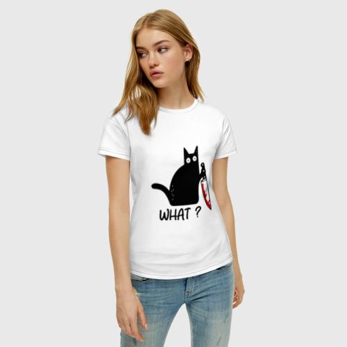 Женская футболка с принтом What cat, фото на моделе #1