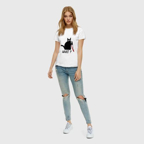 Женская футболка с принтом What cat, вид сбоку #3
