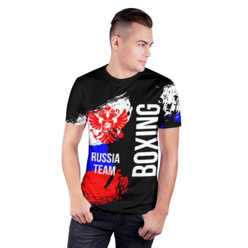 Мужская футболка 3D спортивная с принтом Boxing Russia Team, фото на моделе #1