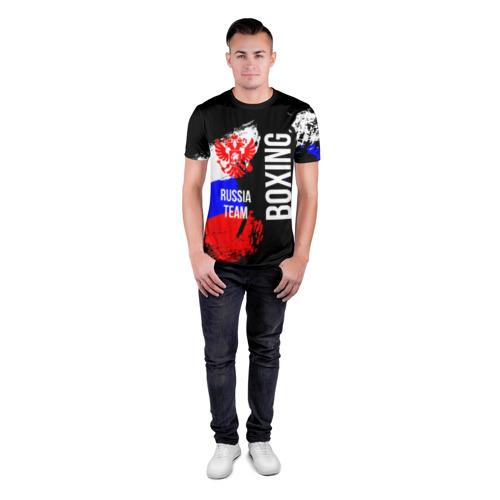 Мужская футболка 3D спортивная с принтом Boxing Russia Team, вид сбоку #3