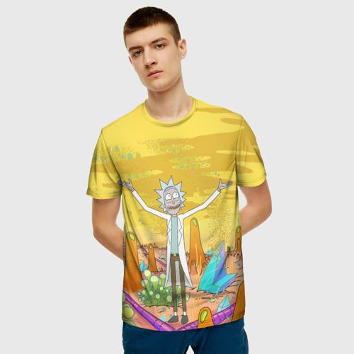 Мужская 3D футболка с принтом Рик Санчес, фото на моделе #1