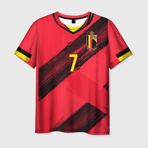 Мужская 3D футболка с принтом De Bruyne home EURO 2020, вид спереди #2