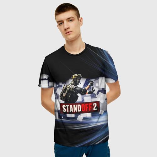 Мужская 3D футболка с принтом Standoff2, фото на моделе #1