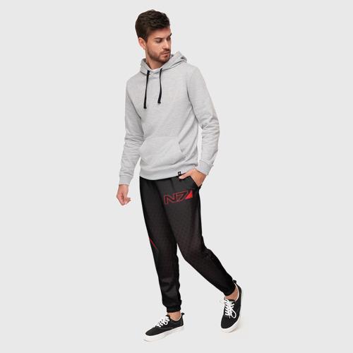 Мужские брюки 3D с принтом Mass Effect N7, фото на моделе #1