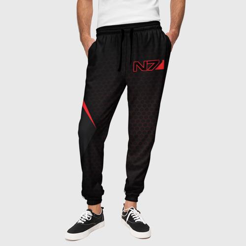 Мужские брюки 3D с принтом Mass Effect N7, вид сбоку #3