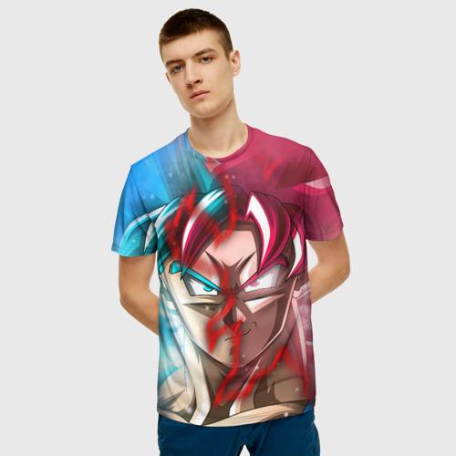Мужская 3D футболка с принтом Гохан, фото на моделе #1