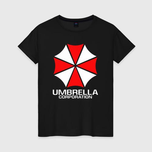 Женская футболка с принтом UMBRELLA CORP, вид спереди #2