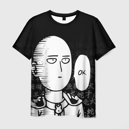Мужская 3D футболка САЙТАМА НА ФОНЕ ИЕРОГЛИФОВ / SAITAMA OKEY!