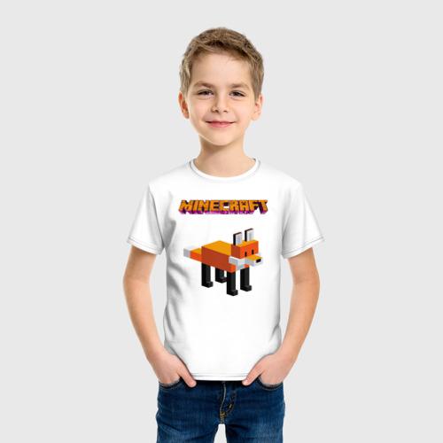 Детская футболка с принтом Minecraft - лиса, фото на моделе #1
