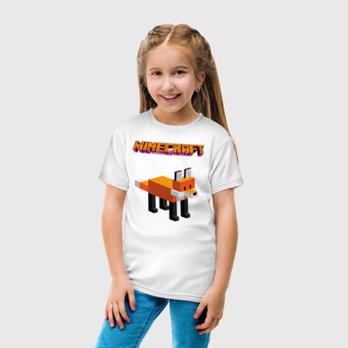 Детская футболка с принтом Minecraft - лиса, вид сбоку #3