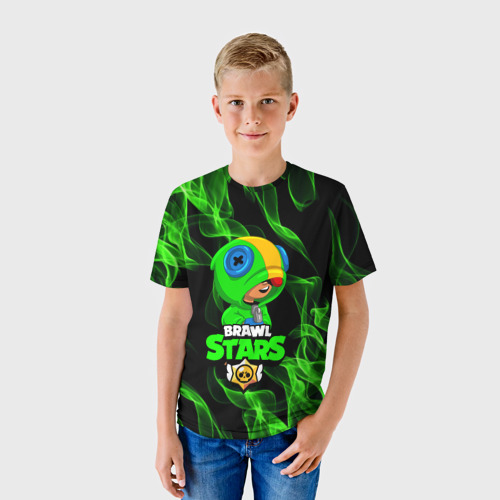 Детская 3D футболка с принтом BRAWL STARS LEON / ЛЕОН, фото на моделе #1