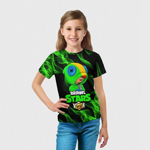 Детская 3D футболка с принтом BRAWL STARS LEON / ЛЕОН, вид сбоку #3