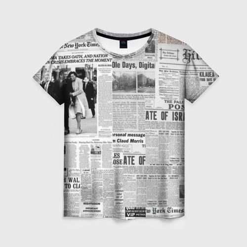 Женская 3D футболка Газета Newspaper