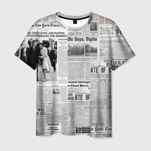 Мужская 3D футболка Газета Newspaper