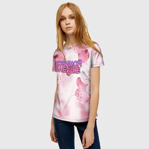 Женская 3D футболка с принтом Любимой бабушке, фото на моделе #1