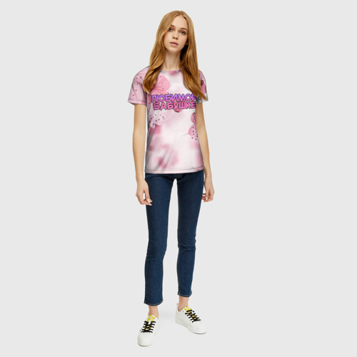 Женская 3D футболка с принтом Любимой бабушке, вид сбоку #3