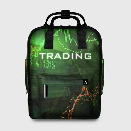 Женский рюкзак 3D с принтом Трейдинг 03, вид спереди #2