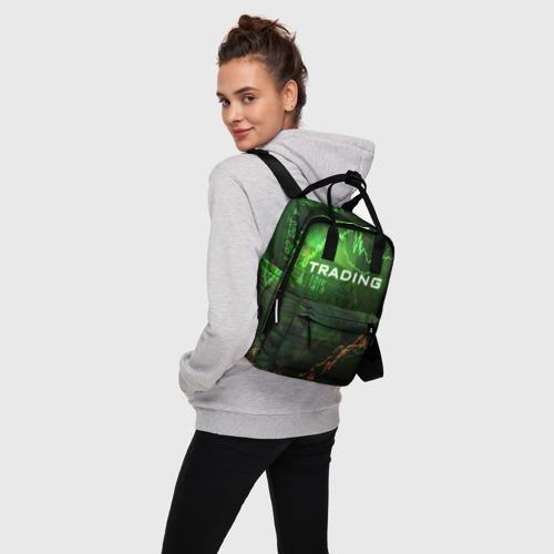 Женский рюкзак 3D с принтом Трейдинг 03, вид сбоку #3